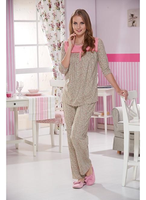 Sevim Kadın Battal Boy Pijama Takımı Bej